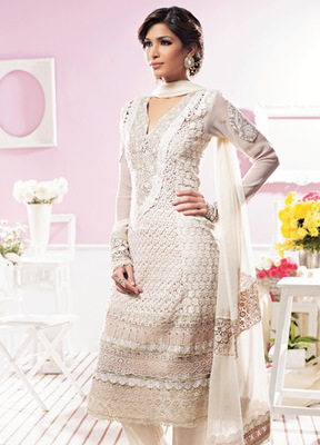 Hypnotex Off White Pure Georgette Dress materials