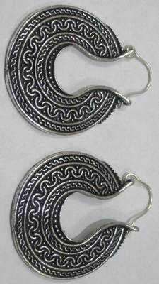victorian filigree moon crest round earrings