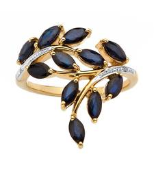 Buy Sterling Silver Leafy Style Ring Studded With Blue Stones Ring online