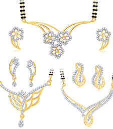 Buy Resplendent Gold Plated Set of three Mangalsutra Set Combo For Women jewellery-combo online