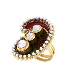 Buy Red-Green Statement Ring Adorned With Pearl Beads Ring online