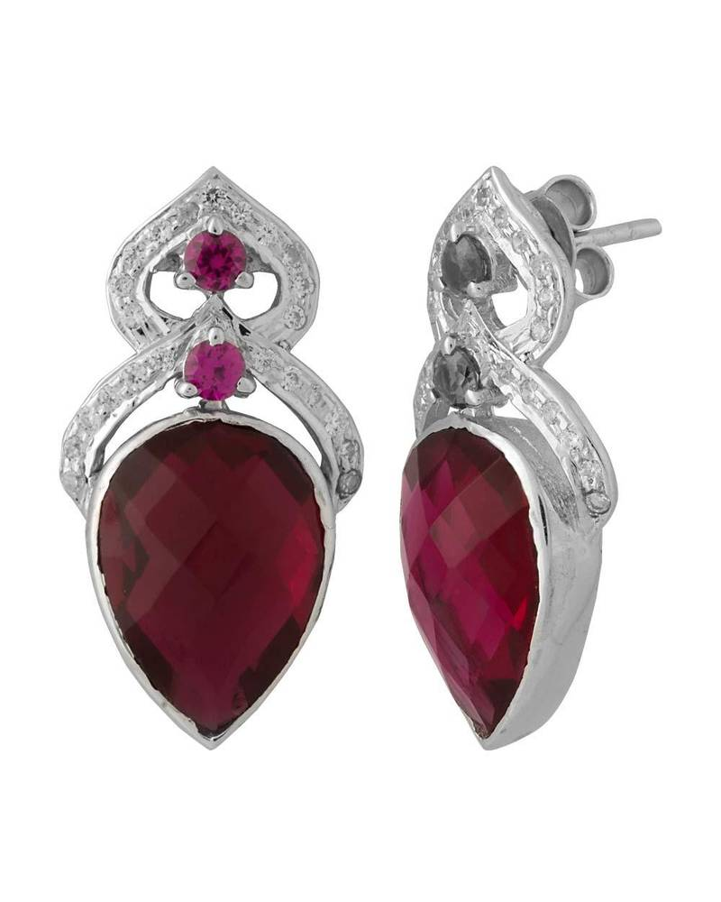 Silver Red Granite : Buy red color stone sterling silver danglers online