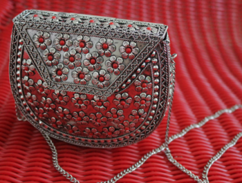 Antique Silver with Red Flowers Sling Clutch
