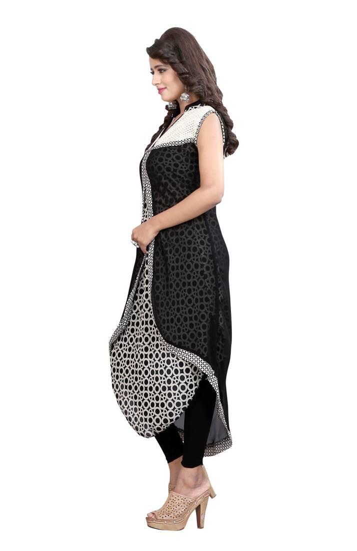 Buy Black Printed Georgette Umbrella Style Kurti Online