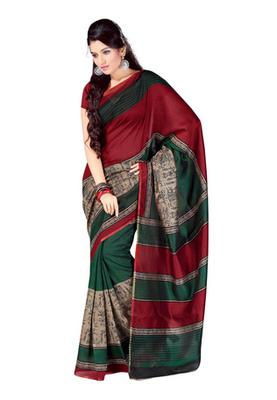 Fabdeal Maroon Colored Bhagalpuri Cotton Printed Saree