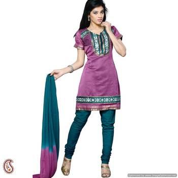 Violet silk kurta Churidar Set