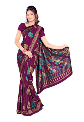 Fabdeal Purple Colored Tussar Silk Printed Saree
