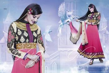 Designer Glossy Umbrella Anarkali Dress with Pink and Black Combination