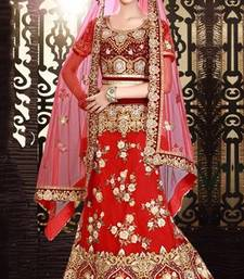 Buy Embroidered maroon pretty lehenga choli wedding-season-sale online