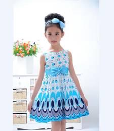 Buy New arrival designer Light Blue american crepe partywear casual kids frocks kids dress kids wear eid-kids-wear online