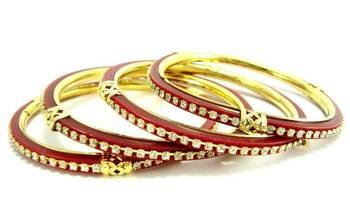 Bridal jewellery red 4Pc banglel l905r