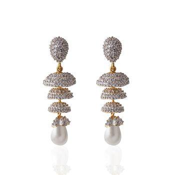Heena Festive hanging white pearl Earings >> HJER16W <<