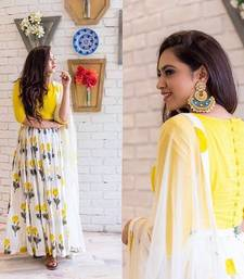 Buy Yellow silk printed party wear gowns party-wear-gown online