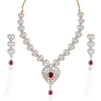 Heena Trendy Love Collection Necklace Set >> HJNL121R <<