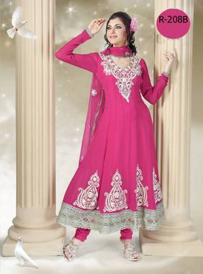 Pink Ankle Length Embroidered Long Anarkali Suits