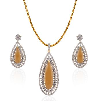 Heena Fashion Exclusive Collection glossy Yellow stone Pendant Set >> HJPN139Y <<