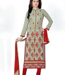 Buy Grey cotton embroidered semi stitched salwar with dupatta cotton-salwar-kameez online
