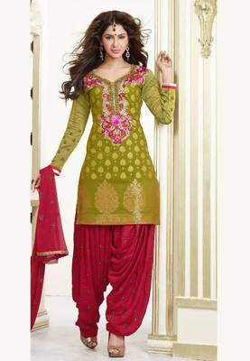 Green and Maroon Chanderi Cotton patiyala patiala salwar kameez unstitched designer suit party wear indian