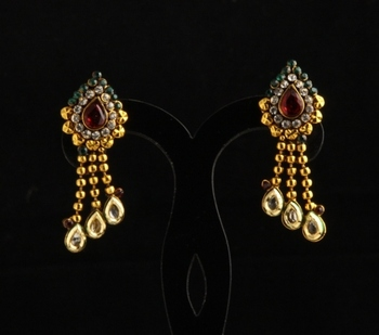 Designer ethnic polki,pearl and semiprecious studded earrings
