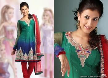 Green Salwar Kameez Churidar Dress Material SCA2007B