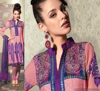 Peachy Pink Salwar Kameez Churidar Dress Material SCA3415