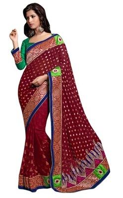 Triveni Indian Traditional Wonderful Broad Bordered Bridal Wear Saree