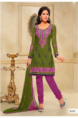 Casual Wear Mehendi Green Dress Material