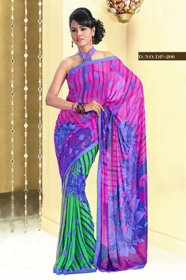 Casual Digital Print Georgette Saree