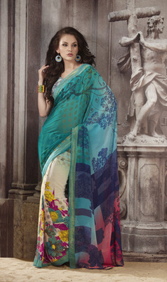 Printed Casual Wear Sarees With Blouse