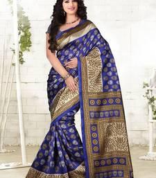 Buy dark blue printed cotton silk saree With Blouse cotton-silk-saree online