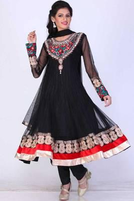 Black Net Embroidered Party and Festival Anarkali salwar Kameez