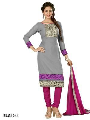 Riti Riwaz Georgette  Fabric  With Un-Stitch Dupatta  grey Color 1044