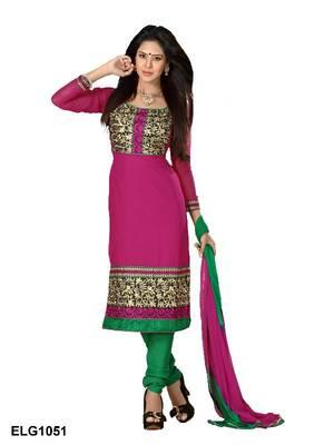 Riti Riwaz Georgette  Fabric  With Un-Stitch Dupatta  Pink Color ELG1051