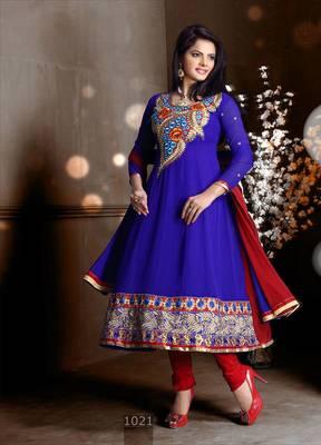 Riti Riwaz Georgette  Fabric  With Un-Stitch Dupatta  blue Color MB1021