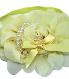 Buy Online Baby Girl Headband with Lovely Pearl Roses in Cream hair-accessory online