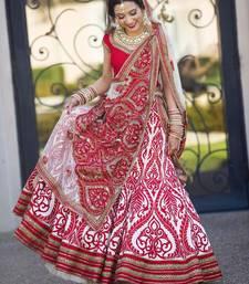 Buy Red embroidered net unstitched ethnic lehengas ethnic-lehenga online
