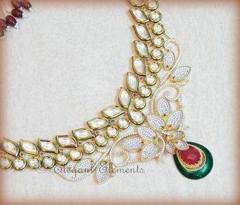 Classic...masterpiece...fusion design....kundan and cz gold platted necklace set