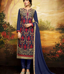Buy Blue georgette embroidered semi stitched salwar with dupatta pakistani-salwar-kameez online