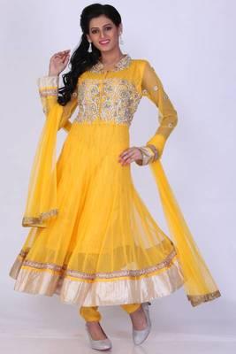 Saffron Yellow Net Embroidered Party and Festival Anarkali Salwar Kameez