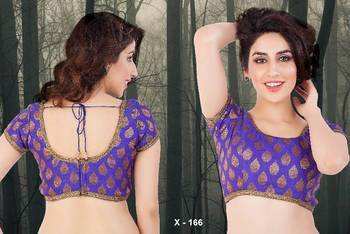 Ready Made Saree Blouse with embossed brocade fabric - Padded - x 166 - Designer Muhenera Blouse collection