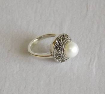 Swiss Marcasite Silver Ring with Pearl