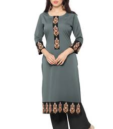 Buy Grey printed faux crepe stitched kurti diwali-kurti online