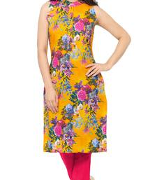 Buy Orange printed faux crepe stitched kurti long-kurti online