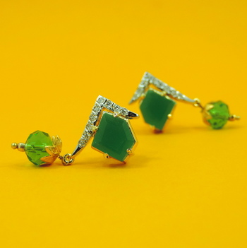 Green Diamond Shaped AD Earrings
