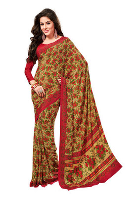 Fabdeal Yellow Colored Crepe Printed Saree