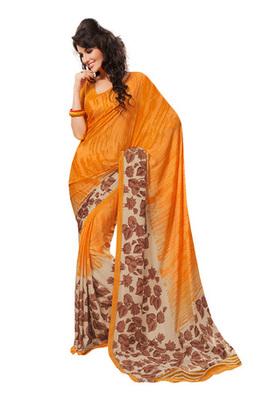 Fabdeal Orange Colored Georgette Crepe Chex Printed Saree