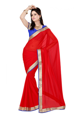 Fabdeal Red Colored Chiffon Georgette Plain With Lace Border Saree