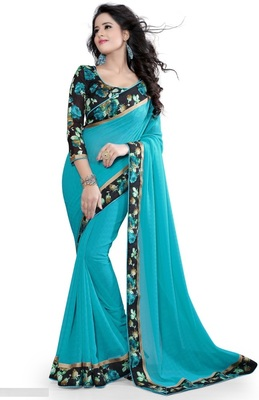 blue plain chiffon saree With Printed Blouse