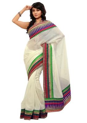 Triveni Indian Ethnic Adorable Border Worked Cotton Silk Saree