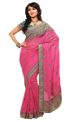 Triveni Indian Ethnic Remarkable Floral Embroidered Chiffon Saree